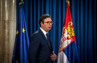Aleksandar Vucic, Serbia's president, prepares for a press conference June 15, 2017.