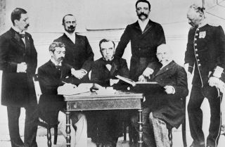 Pierre de Coubertin (sitting, left) poses with members of the first International Olympic Committee in Athens, Greece, in 1896.