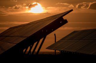 Rows of solar panels are seen at a Tekno Ray Solar farm on Sept. 13, 2018, in Konya, Turkey.