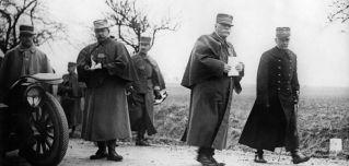 French Gen. Michel-Joseph Maunoury, right, walks alongside French army commander Gen. Joseph Joffre during the Battle of the Marne in 1914.