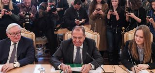 Russian Foreign Minister Sergei Lavrov looks on during a meeting with Venezuelan Vice President Delcy Rodriguez (unpictured) in Moscow on March 1, 2019.