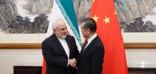 Iranian Foreign Minister Javad Zarif and Chinese Foreign Minister Wang Yi meet in Beijing on May 17, 2019.