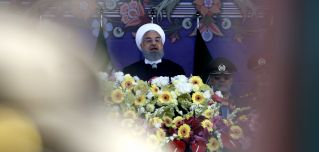 Iranian President Hassan Rouhani gives a speech during a parade on Army Day, which celebrates the country's military.