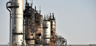 This Sept. 20, 2019, photo shows the damage at Saudi Arabia's Abqaiq oil processing plant following attacks six days before.