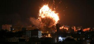 An Israeli airstrike hits the Hamas-run Al-Aqsa TV station in the Gaza Strip on Nov. 12, 2018.