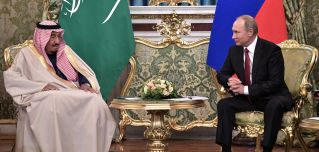 Russian President Vladimir Putin (R) meets with Saudi King Salman at the Kremlin in Moscow on Oct. 5, 2017. Saudi Arabia and Russia aren't on the friendliest of terms, but circumstances have aligned in such a way that each needs the other.