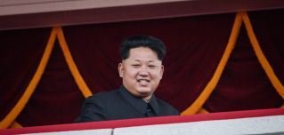 North Korean leader Kim Jong Un looks toward Kim Il Sung Square during a military parade in Pyongyang.