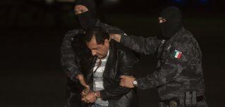 "Favio Gomez, brother of Servando Gomez, also known as ""La Tuta,"" is transported in Mexico City on Feb. 27, 2015, after his capture."