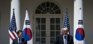 South Korean President Moon Jae In and U.S. President Donald Trump hold a news conference outside the White House on June 30, 2017.