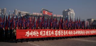 North Koreans rally in support of the Workers' Party at Kim Il Sung Square in Pyongyang on Jan. 5, 2020.