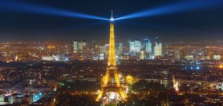 Paris' Eiffel Tower is seen at night.