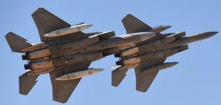 Saudi fighter jets perform at King Salman air base in Riyadh.