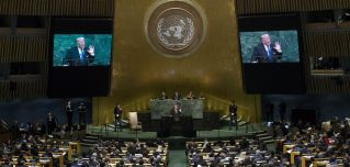 "U.S. President Donald Trump took to the podium today at the U.N. General Assembly in New York to give his first speech at the body of global leaders. The speech -- somewhat reminiscent in tone to his inauguration speech in January -- was Trump's message to the world on what U.S. foreign policy should be under his doctrine of ""America First."""