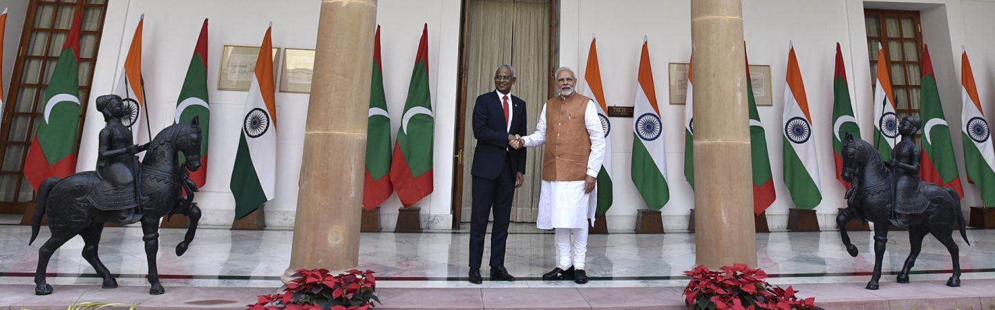 Indian Prime Minister Narendra Modi and Maldivian President Ibrahim Mohamed Solih shake hands before a meeting on Dec. 17, 2018, in New Delhi.
