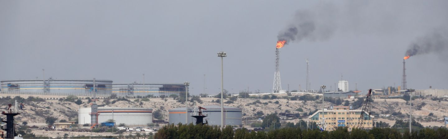 A picture from March 2017 shows an oil facility on Kharg Island on the Iranian coast.