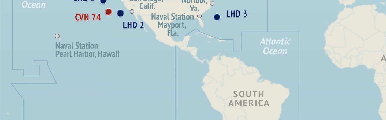 US Naval Update Map April - Us navy fleet locations map