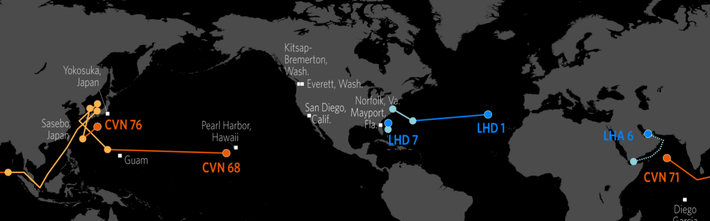 Naval Update Map Nov - Map of the us at night