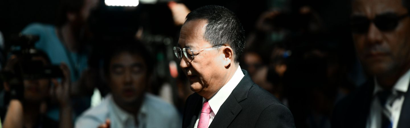 North Korean Foreign Minister Ri Su Yong leaves his hotel in New York on Sept. 25, headed to a news conference in which he accused the United States of declaring war.