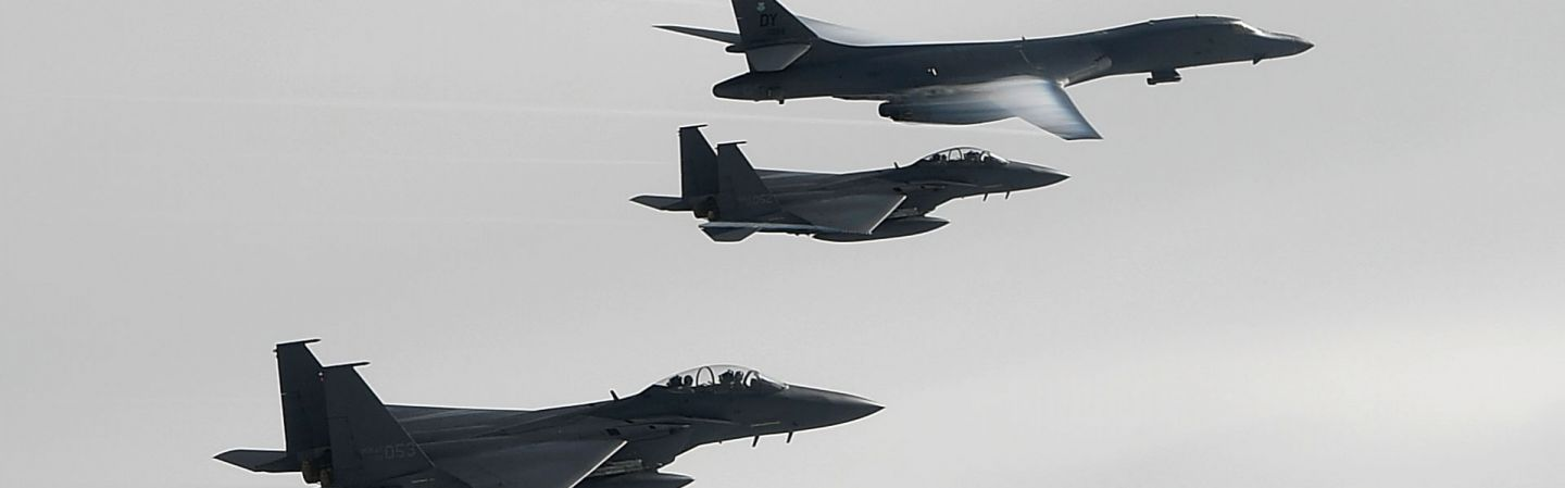 U.S. and South Korean jets fly over the Korean Peninsula during a joint exercise in July 2017.
