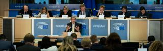This photo shows Austria's Johannes Hahn, who is set to become the next EU budget commissioner, answering questions during a hearing of the European Parliament in Brussels on Oct. 3, 2019.