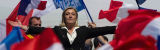 Marine Le Pen gestures as she delivers a speech during the French Far Right Party May Day demonstration on May 1, 2012 in Paris, France.