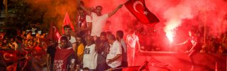 People celebrate the victory of Republican People's Party (CHP) Istanbul mayoral candidate Ekrem Imamoglu over the Justice and Development Party's (AKP) Binali Yildirim on June 23, 2019.