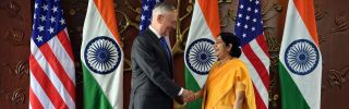 U.S. Secretary of Defense Jim Mattis, left, shakes hands with Indian Foreign Minister Sushma Swaraj before the 2+2 meeting in New Delhi on Sept. 6.