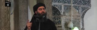 A video taken July 5, 2014, shows Abu Bakr al-Baghdadi, whom the Islamic State called Caliph Ibrihim.