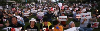 South Koreans participate in a rally to denounce Japan's new trade restrictions and Japanese Prime Minister Shinzo Abe on Aug. 24, 2019, in Seoul. The bilateral relationship between Japan and South Korea has worsened recently amid escalating trade tensions.