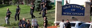 Law enforcement personnel outside the Sikh Temple of Wisconsin after a gunman fired upon people at a service there on Aug. 5, 2012, in Oak Creek, Wisconsin.