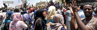 Sudanese protesters rally in front of the military headquarters in Khartoum on April 8, 2019.