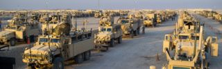 U.S. soldiers prepare the last convoy carrying troops at Camp Adder on the outskirts of the southern city of Nasiriyah on December 17, 2011, marking the withdrawal of U.S. troops from Iraq.