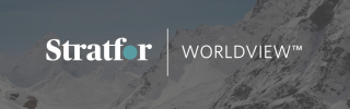 Stratfor Worldview logo over mountains