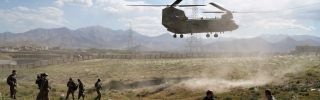 This photo shows a U.S. Chinook helicopter landing at a provincial capital in Afghanistan.