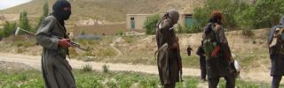 Taliban fighters patrol near Gardez, near Afghanistan's border with Pakistan.