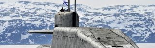 A nuclear-powered submarine crew trains in the Murmansk region of Russia.