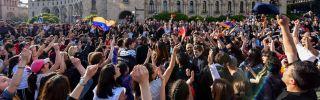 Armenians in the capital Yerevan celebrate Serzh Sarkisian's resignation as prime minister on April 23, 2018.