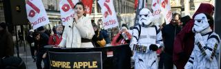 Members of the French activist group Attac rally in Paris on Feb. 12, 2018, against Apple Inc., which they accuse of tax evasion.