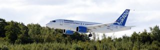 A new Bombardier C Series aircraft takes flight.