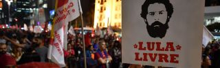 """A demonstrator holding a """"Free Lula"""" sign shows his support for former Brazilian President Luiz Inacio Lula da Silva during a May 30, 2018, protest in Sao Paulo. Da Silva was imprisoned in April on a corruption conviction."""