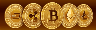 This image shows representations of cryptocurrencies, from left, Dash, Ripple, Bitcoin, Etherium and Litecoin.