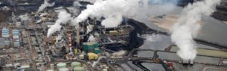 The Suncor facility near Fort McMurray, Alberta, extracts bitumen from oil sands in Canada.