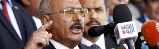 Former president of Yemen, Ali Abdullah Saleh, delivers a speech to his supporters in the capital city of Sanaa on Aug. 24, 2017.