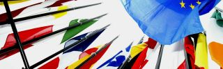 The European Union comprises 28 member states possessing a wide rainbow of flags.