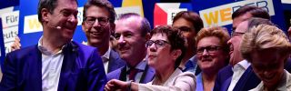 Members of Germany's ruling Christian Democratic Union (CDU) and Christian Social Union (CSU), including new CDU leader Annegret Kramp-Karrenbauer (C), launch the allied conservative parties' campaign for the European elections in an event in Muenster on April 27, 2019.