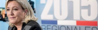 Marine Le Pen, president of France's growingly popular National Front party, on Dec. 3 awaits the beginning of a debate with other candidates running in regional elections for Nord-Pas-de-Calais-Picardie.