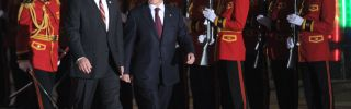 Georgia's President Giorgi Margvelashvili and his Kyrgyz counterpart Almazbek Atambayev take part in a welcoming ceremony.