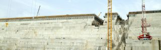 This photograph shows the Grand Ethiopian Renaissance Dam in 2015. The hydroelectric project near the Sudanese-Ethiopian border is nearing completion.