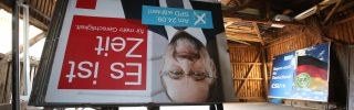 A disassembled election billboard of Martin Schulz, leader of Germany's Social Democratic Party. The SPD won only 20 percent of the vote in Germany's Sept. 24 federal elections.