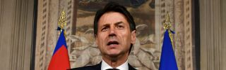 Giuseppe Conte addresses journalists after a meeting with Italian President Sergio Mattarella on May 27 in Rome. Conte was subsequently named prime minister.